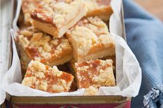 A delicious shortbread base covered with sticky caramel and a crumble topping. Perfect for a picnic or shared morning tea. Think caramel slice with crunch! Caramel Shortbread, Delicious Desserts, Yummy Food, Crumble Topping, Something Sweet, Tray Bakes, Baking Recipes, Cake Recipes, Sweet Recipes