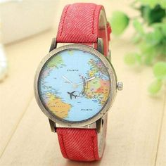 Cheap watch f, Buy Quality watch fashion directly from China watch for Suppliers: Women Men Unisex Fashion Vintage Casual World Map watch By Airplane belt Dial Analog Quartz Wrist Watch for Children and adults Sport Watches, Watches For Men, Wrist Watches, Popular Watches, Women's Watches, Female Watches, Analog Watches, Ladies Watches, Cheap Watches