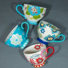 4 hand painted Dutch Wax Anthropologie style artistic floral boho tea cups mugs #graces
