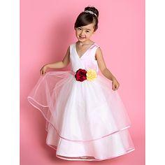 A-line Princess V-neck Floor-length Tulle And Satin Flower Girl Dress (734006) – USD $ 119.99