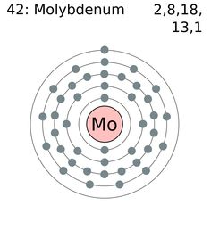 How many valence electrons does molybdenum have?