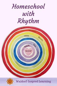 This series of concentric circles shows the rhythms in our homeschooling and lives.  See how to Waldorf homeschool with rhythm using the natural rhythms that already exist all around us. #waldorfhomeschooling #homeschoolrhythm