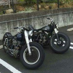 Two Beautiful PanShovel FL bikes with fat front tires