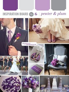 purple and gray weddings | Green purple grey wedding colour scheme | Maybe Someday...