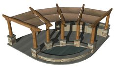 This is rendering off the amphitheater pergola. I want one on each side with the fire pit/for place in the center. This big structure will be further back from the bluff and have the cob/papercrete walls that finish off the gazebo area so it will feel like a court yard