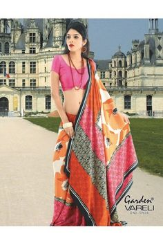 Buy Doll Up #Orange #CrepeSaree Online at Rs.1,211/- at Best Low Prices