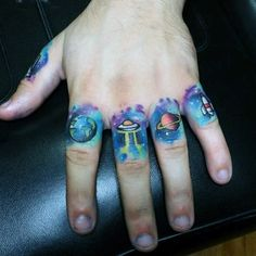 Blue Outer Space Objects Tattoo Male Fingers