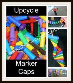 """Yesterday, I hope I convinced you not to throw away your markers that """"don't work."""" Today, I will share with you a few ideas for what to do with all of the caps. The possibilities are nearly endless, but here are a few of our recent creations: 1) A Leprechaun/Fairy Ladder/Rope Ladder: 2) #1 if …"""