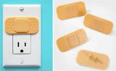 """With households being """"plugged in"""" more than ever, if you're a parent concerned about your lil' tike playing with open power outlets around the house then these Bandaid-shaped outlet covers make it obvious they should avoid the """"ouchies."""""""