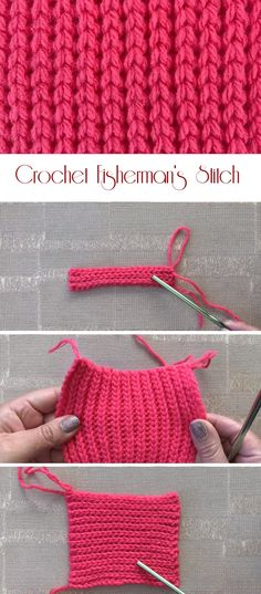 Today we are going to learn to crochet a fisherman's stitch. Sometimes this stitch maybe mistaken for the knit stitch and a lot of people use heart stitch in order to describe this one. Crochet Stitches Patterns, Knitting Stitches, Stitch Patterns, Knitting Patterns, Different Crochet Stitches, Free Knitting, Crochet Waffle Stitch, Single Crochet Stitch, Crochet Stitch Tutorial