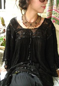 Monarca Black Mexican Dress Tunic unique Fairy butterfly sleeves Bohemian Chic