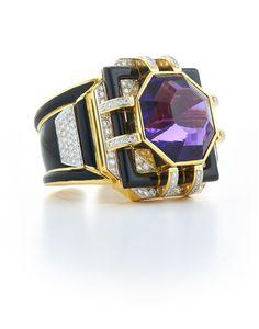 David Webb New York - Octagonal-cut amethyst, brilliant- cut diamonds, black enamel, 18K gold, and platinum