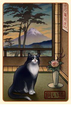 Black and White Cat Japanese Styled Print by ChetArt on Etsy, $18.00
