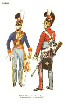 British Horse Guards (Blues),  left; Life Guards, right.   From Uniforms Of Waterloo, by Philip Haythornthwaite,  with illustrations by Jack Cassin-Scott and Mike Chappell.