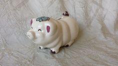 Vintage 1940's Hand Painted Ceramic Still Piggy Bank