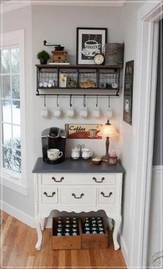 What is new in kitchen decoration? The answer is a farmhouse kitchen design. No doubt it becomes the most favorite kitchen design because it will make you comfortable and calmer. When you decide to design your kitchen to be a… Continue Reading → Coffee Nook, Coffee Bar Home, Home Coffee Stations, Coffee Maker, Coffee Corner, Coffee Bars, Coffee Bar Ideas, Coffee Machine, Coffee Time