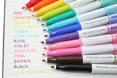 Pilot FriXion Colors Erasable Marker Pen - 12 Color Set - PILOT Why oh why can't I get baby pink & brown! School Supplies, Craft Supplies, Office Supplies, Artist Supplies, Jet Pens, Marker Pen, Copics, Life Planner, Arc Planner