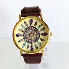 Dream Catcher Watch Vintage Style Leather Watch Women by FreeForme, $12.00