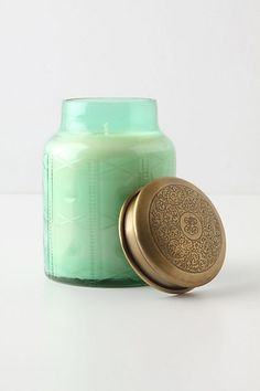 """Favorite candle right now from Anthropologie, scent """"Volcano"""": tropical fruits, sugared oranges, lemons, and limes, redolent with lightly exotic mountain greens--who knew the combination of all those smells would be so glorious!"""