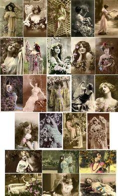 Vintage Beautiful Women; Best of Spring Flower Maidens