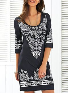 Polyester Floral 1028793/1028793 Sleeves Mini Casual Dresses (1028793) @ floryday.com