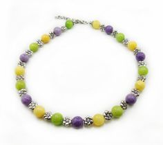 Colorful Jade Necklace Yellow Purple Green by alittlebeadofme