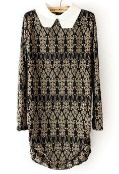 Black Contrast Square Collar Floral Chiffon Dress US$29.68