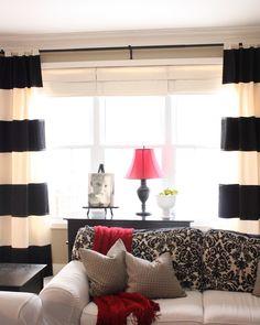 Moroccan Print Curtains with Black Trim Side Board Grey Sofa