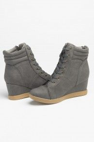 Lace-up Wedge Heel Bootie in Charcoal
