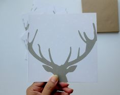 Set Christmas Cards with a reindeer:  Merry Christmas Deer    10 cards + 10 envelopes on eco friendly paper Reindeer cards   Christmas by koopmaninvorm