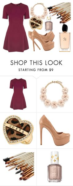"""""""Untitled #142"""" by dreamer3108 on Polyvore featuring Topshop, J.Crew, GUESS, Schutz, Essie, Giorgio Armani, women's clothing, women's fashion, women and female"""