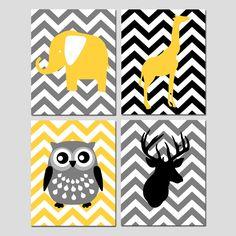 Modern Nursery Quad - Set of Four 11x14 Prints - Chevron Animals - Deer, Owl, Elephant, Giraffe - Black, Yellow, Gray.