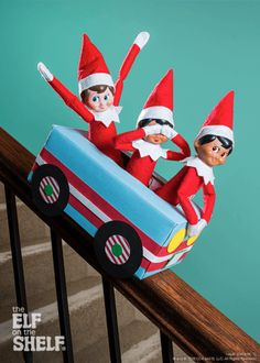 Elf Using the Staircase as a Rollercoaster #ElfOnTheShelf #Elves
