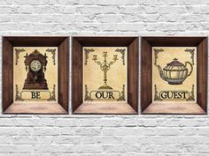 """Be Our Guest - Set of Three Prints - Beauty and the Beast Prints - Vintage Style Disney Posters - 8x10, 5x7 (inches) by MyChildishThings on Etsy <a href=""""https://www.etsy.com/listing/451917900/be-our-guest-set-of-three-prints-beauty"""" rel=""""nofollow"""" target=""""_blank"""">www.etsy.com/...</a>"""