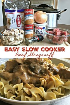 beef dishes Today's recipe is a cold weather comfort food classic, an old school favorite made easy - Slow Cooker Beef Stroganoff. Slow Cooker Beef Stroganoff (Easy) One of my family's favorite go-to cold weather meals is Crockpot Dishes, Crock Pot Cooking, Beef Dishes, Crock Pots, Cooking Eggs, Cooking Cake, Cooking Oil, Stew Meat Recipes, Slow Cooker Recipes