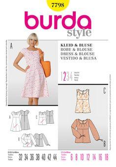 Burda Style 7798  Cotton, linen, crepe, with neck darts