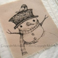 Original Pen Ink Fabric Illustration Quilt Label by Michelle Palmer Snowman… Fabric Painting, Painting & Drawing, Drawing Board, Tole Painting, Cute Snowman, Snowman Crafts, Christmas Cards To Make, Christmas Art, Ink Illustrations