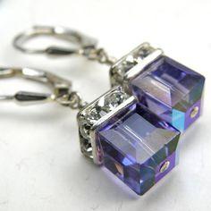 Tanzanite Purple Crystal Earrings Dangle Sterling by fineheart, $28.00