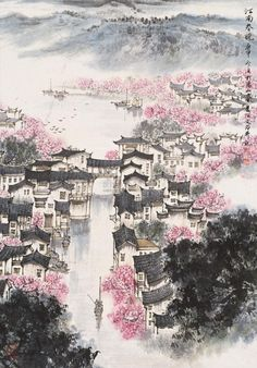 Traditional Chinese painting, 江南春晓 by 宋文治Song Wenzhi(1919—1999).