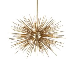 A showstopping, Sputnik-style chandelier; the Starburst chandelier by Ethan Allen adds an instant dash of glamour to any space. Ethan Allen, Sputnik Chandelier, Chandelier Lighting, Wire Light Fixture, Lustre Design, Large Chandeliers, Gold For Sale, Led Floor Lamp, Shop Lighting