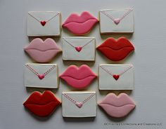 Love letters and lips hand decorated sugar cookies for by 3CSC