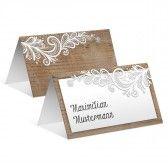 Tischkarten zur Hochzeit - Rustikal mit weißer Spitze