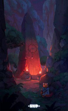 ArtStation - Hup - The ritual stone, Roberto Gatto Concept Art Landscape, Fantasy Landscape, Landscape Art, High Fantasy, Fantasy World, Fantasy Art, Environment Concept Art, Environment Design, Dungeons E Dragons