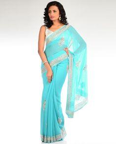 Sequin Embellished Turquoise Blue Sari