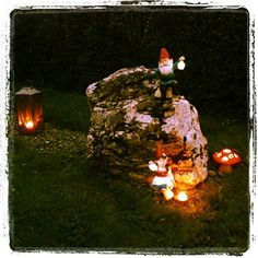 #PartyLite Gnomes! Gned – Solar Lantern Gnome, Gnadia – Solar Lantern Gnome Votive Holder, Mushroom Tealight Holder. Photo by @lisejaa