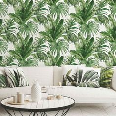 Jungle leaves peel&stick or non-woven photo wallpaper Tree Wallpaper Living Room, Palm Wallpaper, Tropical Wallpaper, Photo Wallpaper, Solid Surface, Tropical Bedrooms, Green Wall Art, Room Posters, Tropical Leaves