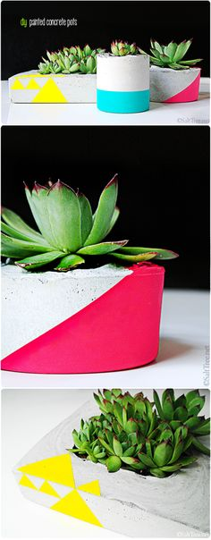 neon painted diy concrete pots