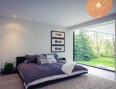 Designed by Toronto-based studio Guido Constantino, the two story contemporary home – 44 Belvedere Residence in South West Oakville, Halton Region, on Lake Ontario in Southern Ontario, Canada. Modern Glass House, Modern Houses, Modern Properties, Constantino, Modern Windows, Modern Bedroom Design, Home Bedroom, Bedroom Ideas, Home Art