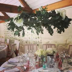 Hanging flower hoops at yesterday's wedding at @curradinebarns #hangingflowers