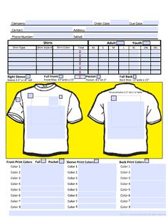 Tshirt Order Form  Google Search  Screen Printing